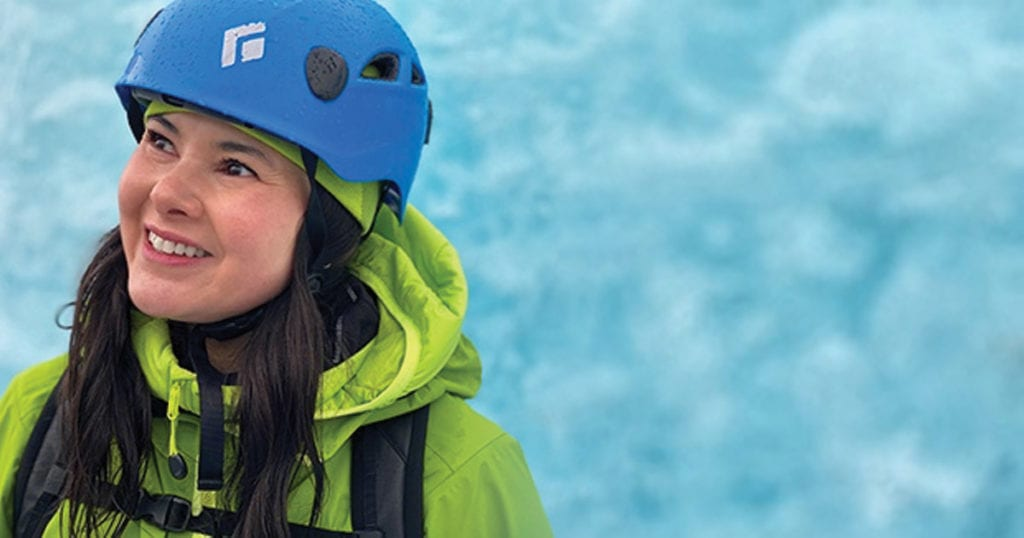 Dr. Charlotte Yong-Hing, BCRS President-elect, CAR member and leader of Canadian Radiology Women wearing climbing gear